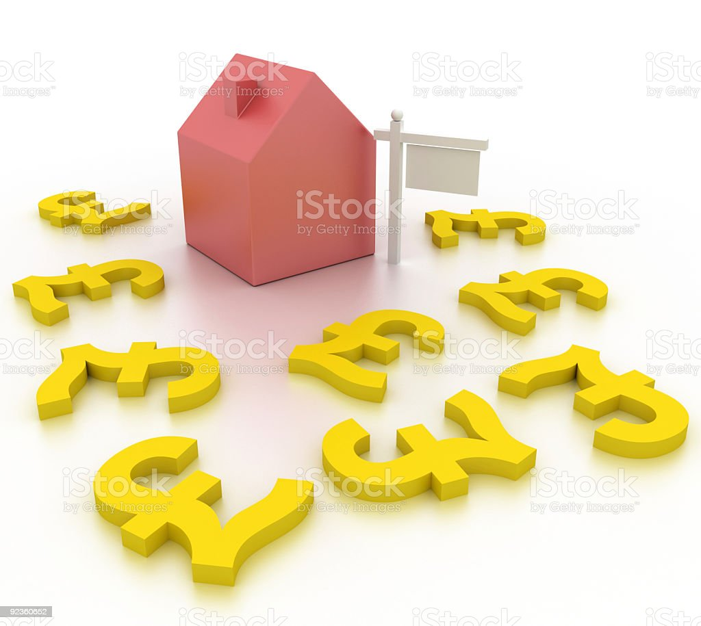 Subprime loan crisis (British Pound, isolated on white) royalty-free stock photo