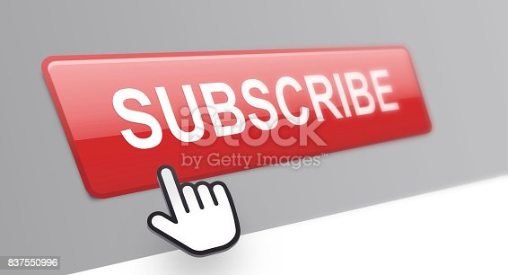 A hand cursor hovers over a subscribe button