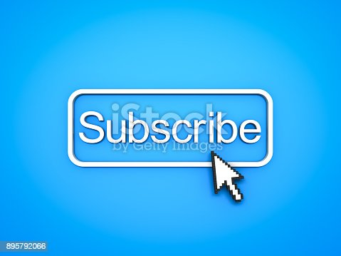 istock Subscribe button with computer arrow cursor on blue background 895792066