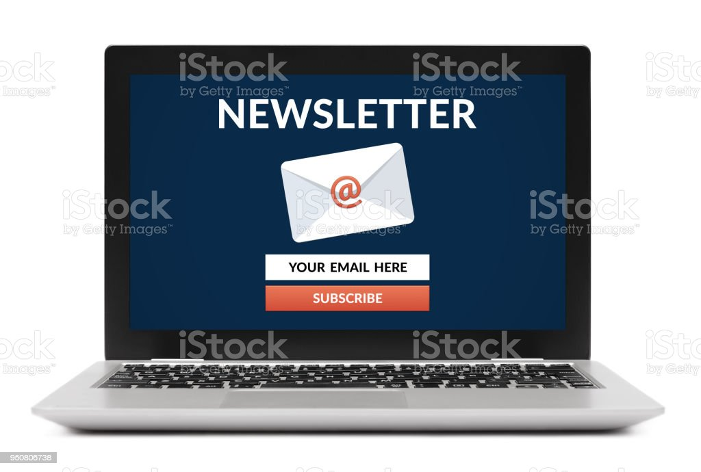 Subscribe newsletter concept on laptop computer screen stock photo