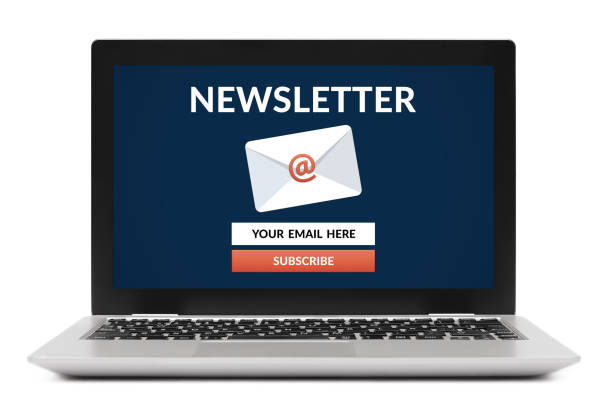 Subscribe newsletter concept on laptop computer screen Subscribe newsletter concept on laptop computer screen. Isolated on white background. All screen content is designed by me. newsletter stock pictures, royalty-free photos & images