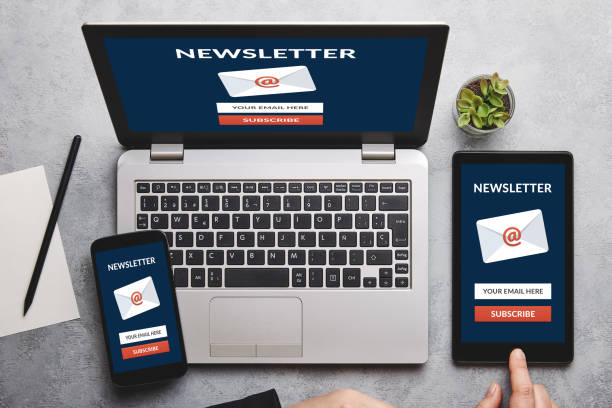 Subscribe newsletter concept on laptop, tablet and smartphone screen Subscribe newsletter concept on laptop, tablet and smartphone screen over gray table. All screen content is designed by me. Flat lay newsletter stock pictures, royalty-free photos & images