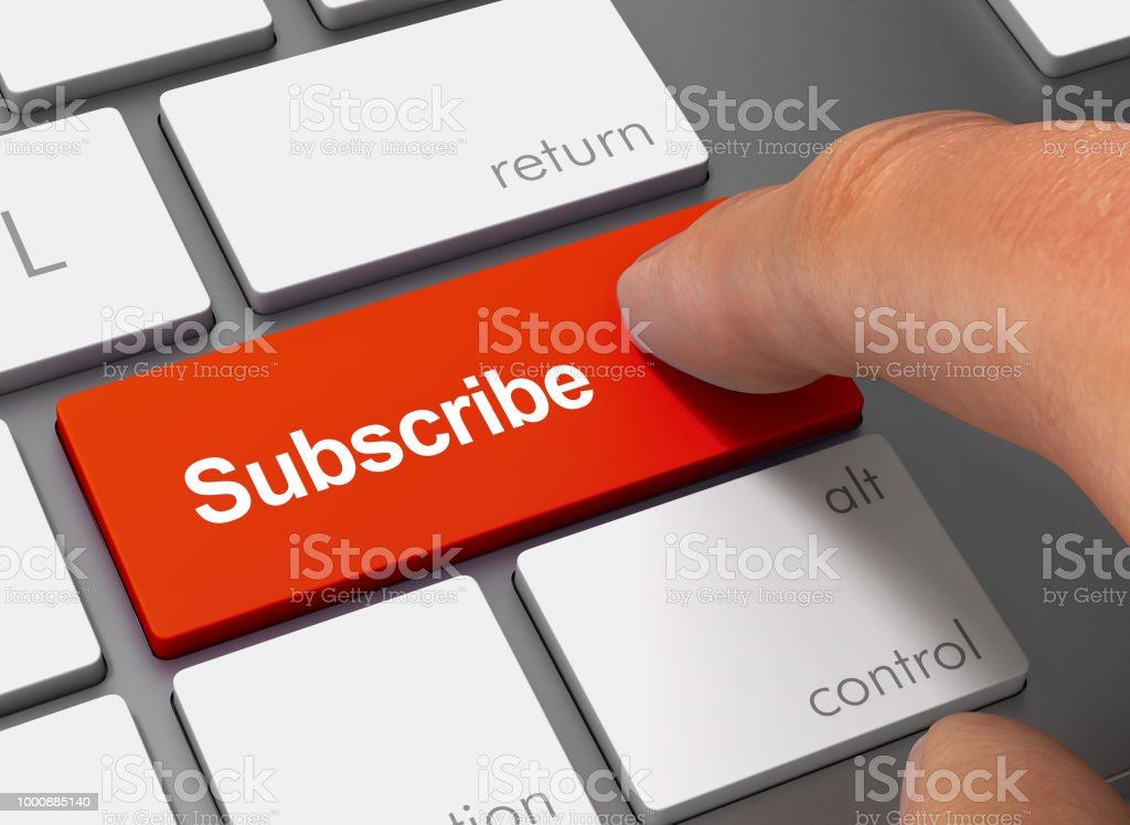 subscribe pushing keyboard with finger 3d illustration stock photo