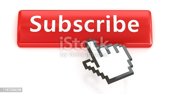 istock Subscribe. Red push button with click hand cursor isolated on the white background. Web design icon sets. 1167336238