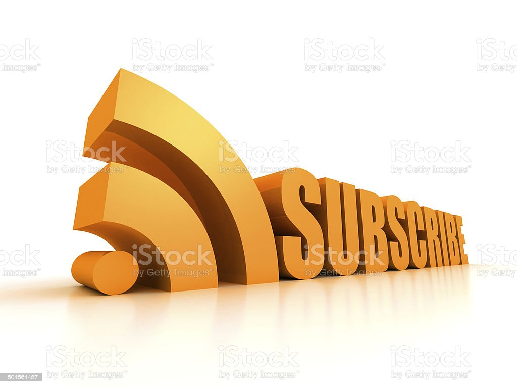 Subscribe RSS concept text symbol on white stock photo