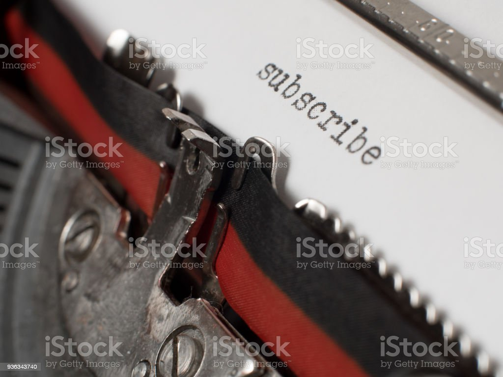 Subscribe text on old typewriter stock photo