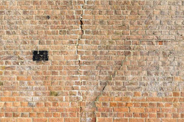 Subsidence cracks brick wall stock photo