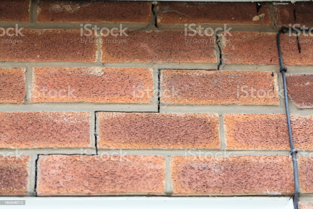 Subsidence in house brickwork. royalty-free stock photo
