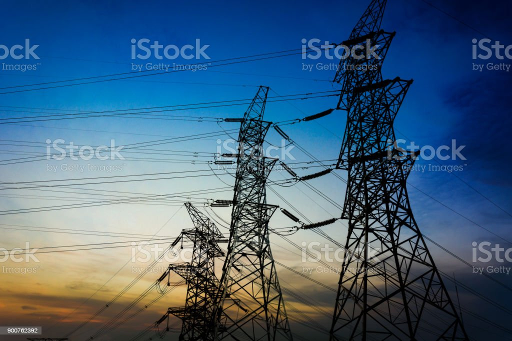 Substation Equipment And Dense Lines Blue Tone Map Stock