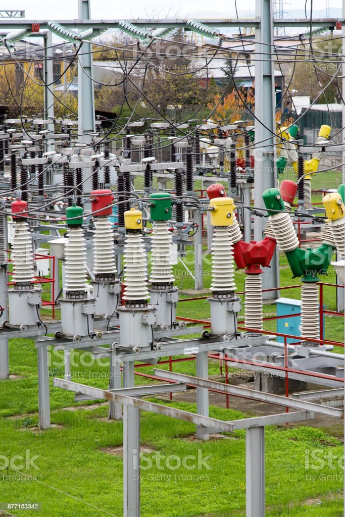 Substation for the distribution of electricity to rail transport. stock photo