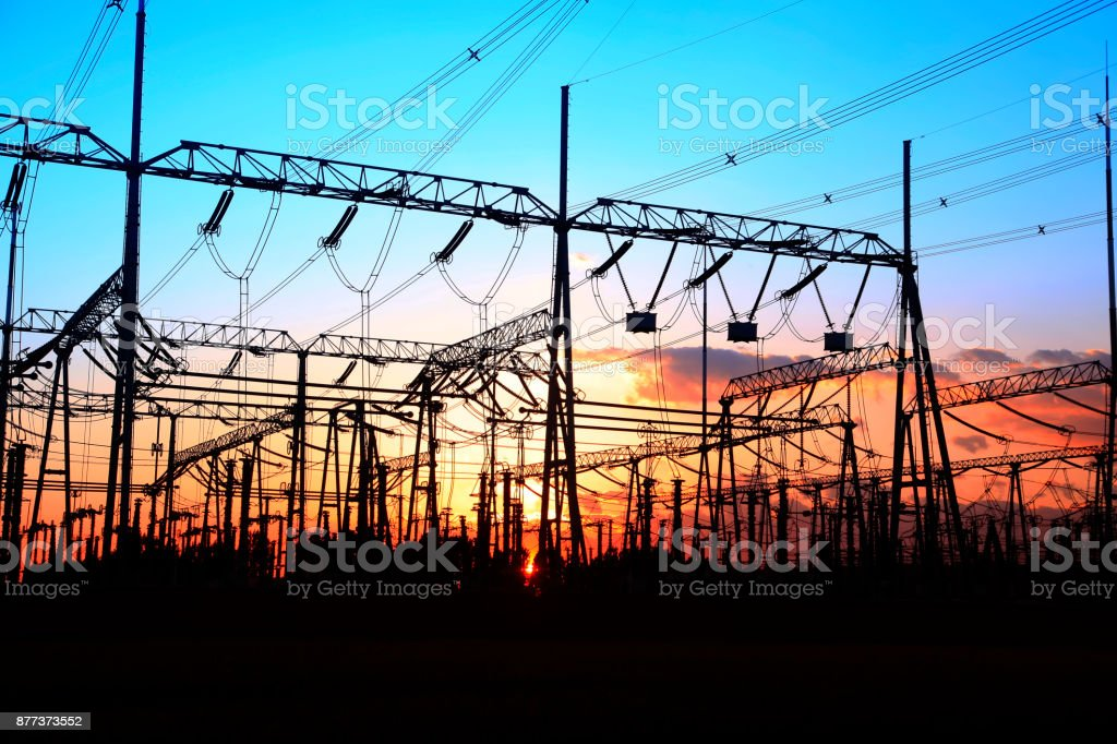 Substation in the evening stock photo