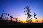 Substation in the evening, the silhouette of the power supply facilities