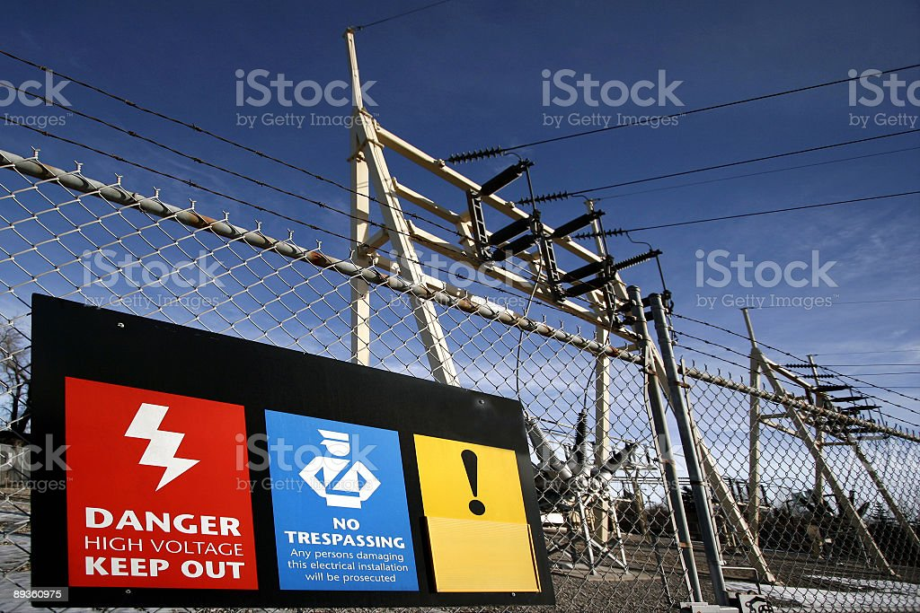 Substation with signs royalty-free stock photo