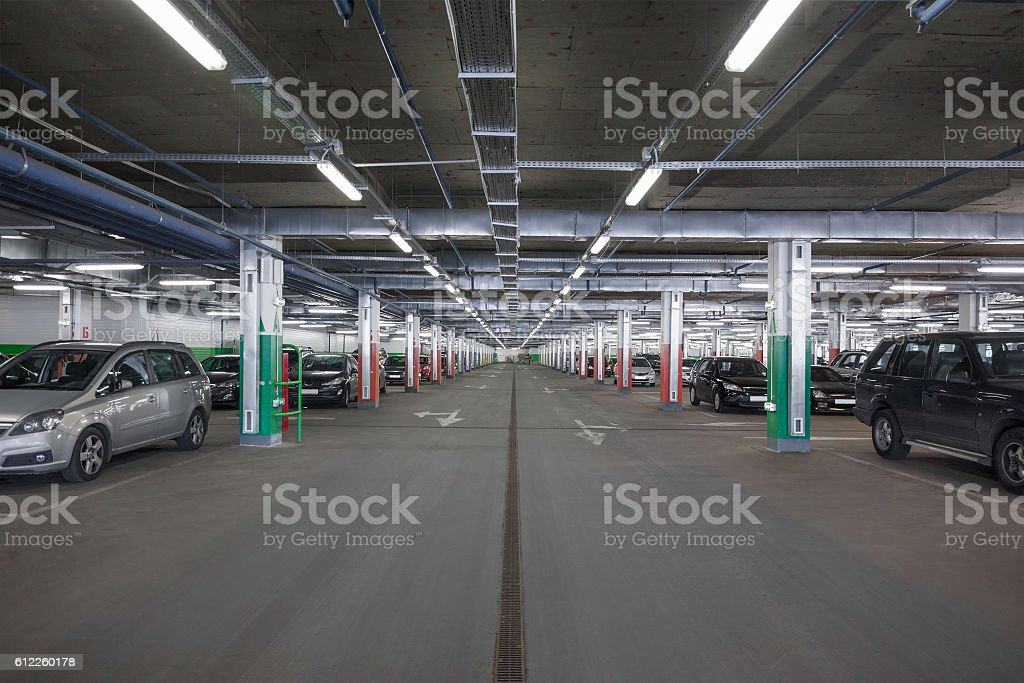 Subterranean parking lot stock photo