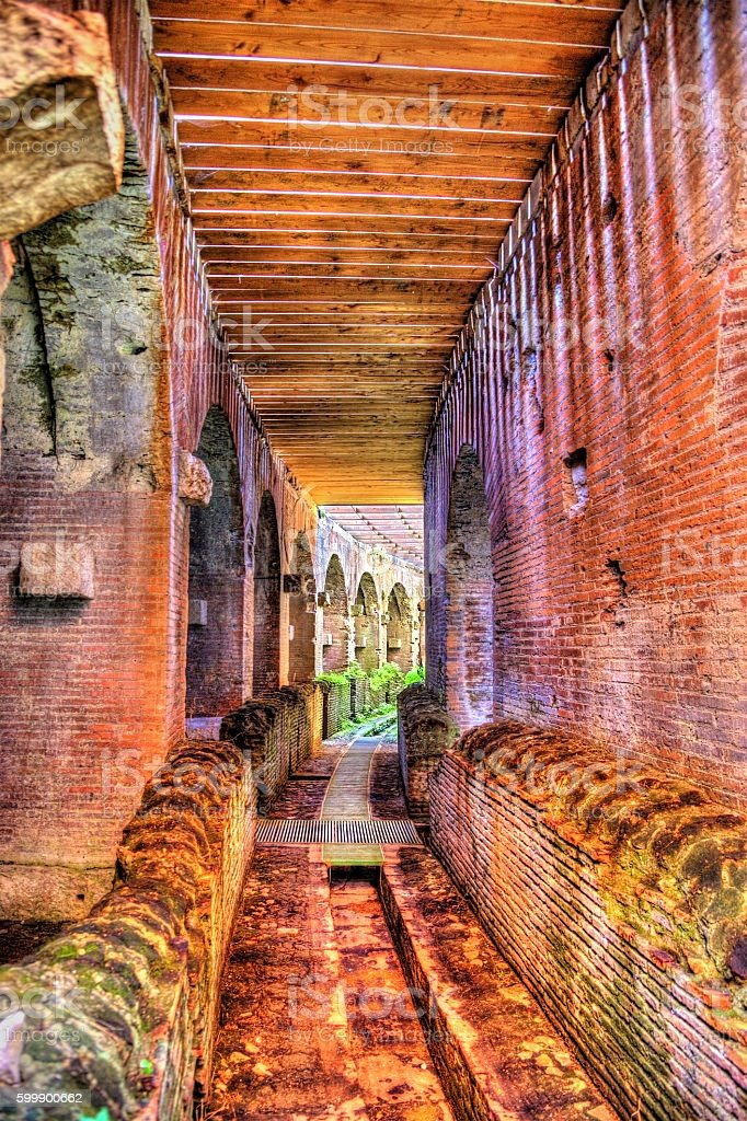 Subterranean passage beneath the arena of the Capua Amphitheatre stock photo