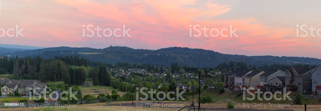 Suburb homes in Happy Valley Oregon USA sunset panorama stock photo