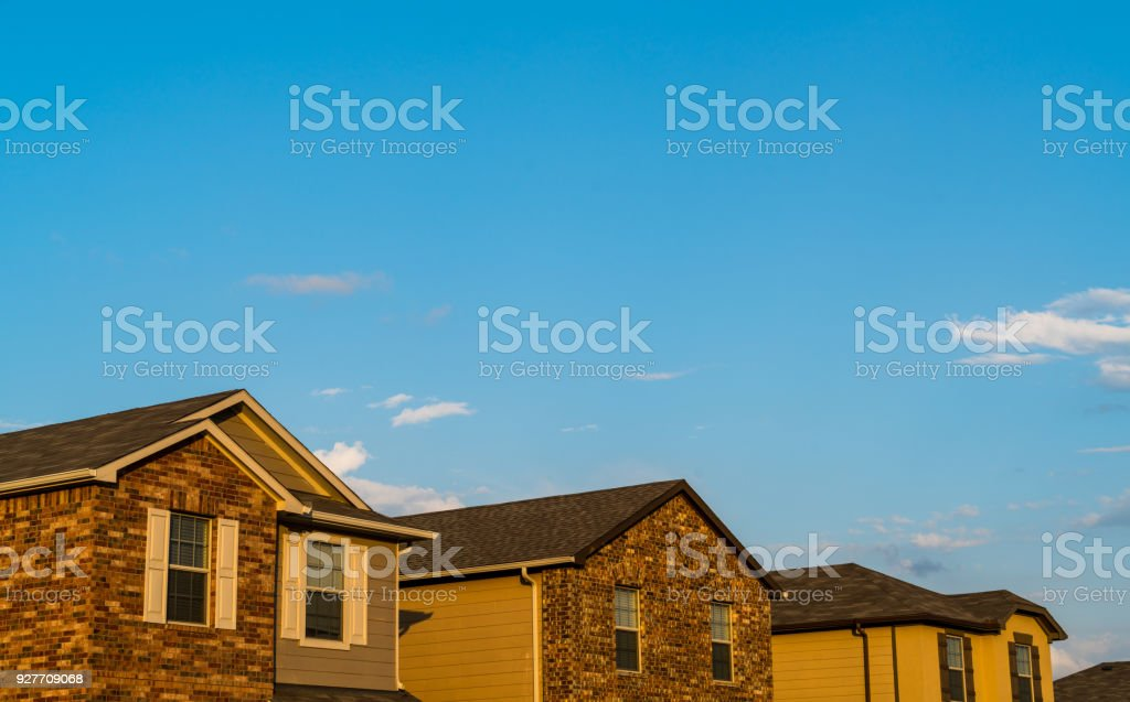 Suburb Homes Luxury Living Brick Homes In Sunset Golden Glow   Stock Image .
