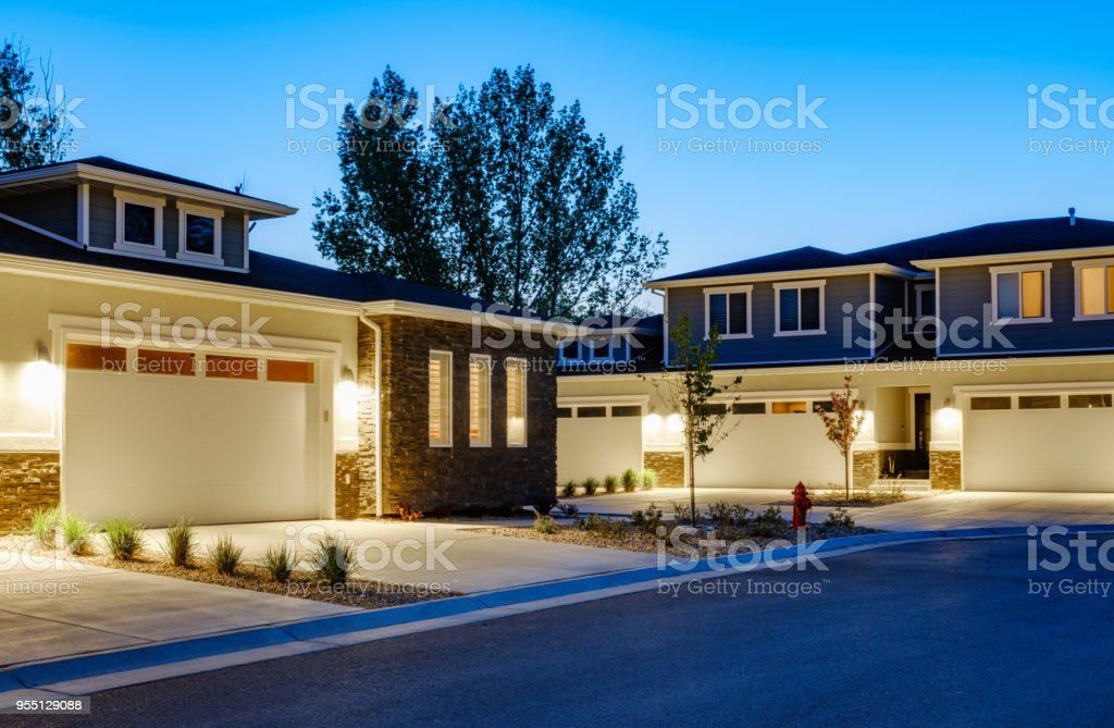 Suburb Houses at Dusk stock photo