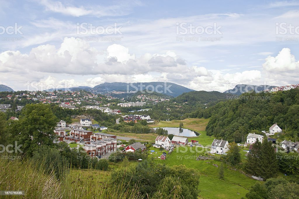 Suburb of Bergen in Norway stock photo