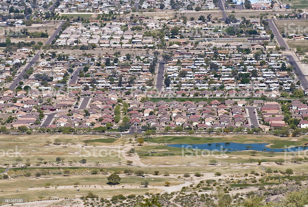Suburb of Phoenix AZ with golf course reclaimed from desert royalty-free stock photo