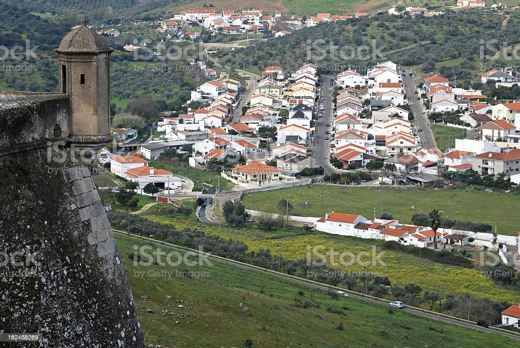 Suburb of walled town in eastern Portugal royalty-free stock photo