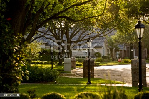 A sunny morning on a exclusive american residential suburb
