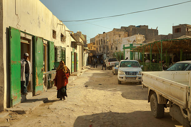 Suburb street view in the old part of Tripoli stock photo