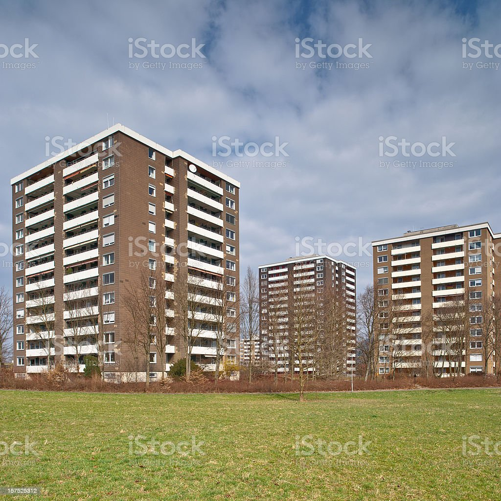 Suburb with high rise buildings royalty-free stock photo
