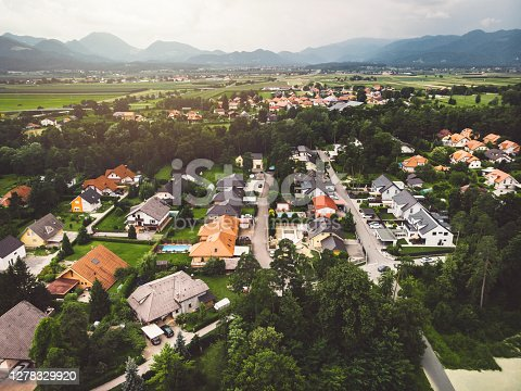 Aerial view of suburban area with residential building.