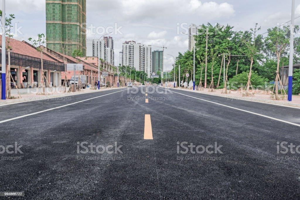 Suburban asphalt road