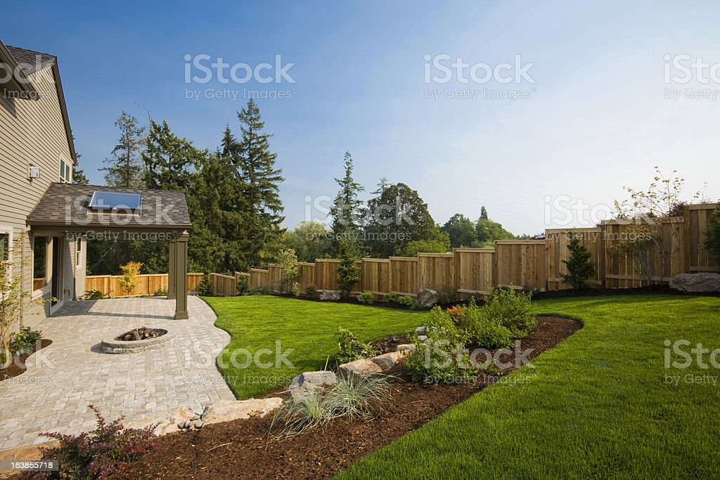 Suburban Back Yard stock photo