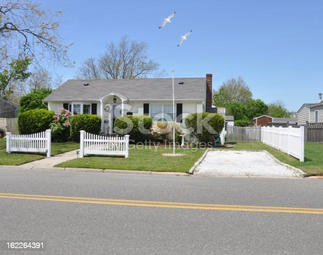 istock Suburban Bungalow House Seagulls Flying White Picket Fence 162264391