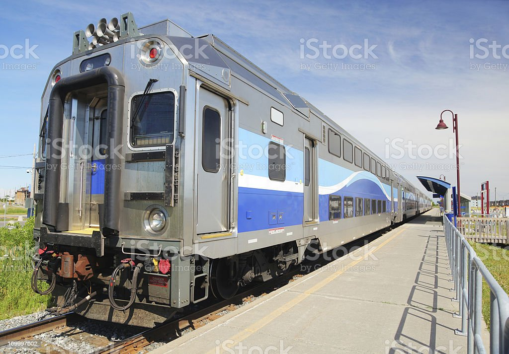 Suburban Commuter Train at Station stock photo