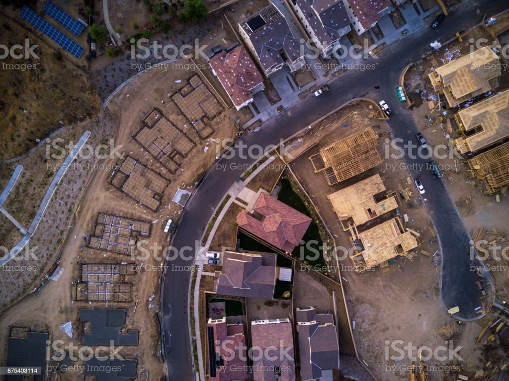 Suburban Construction Site From Above stock photo
