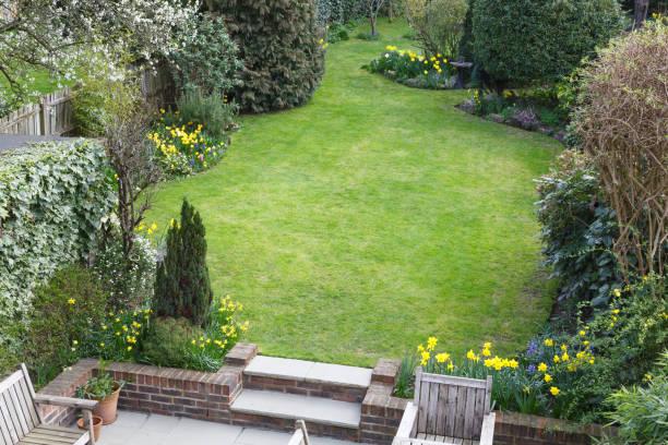 Suburban garden in London stock photo