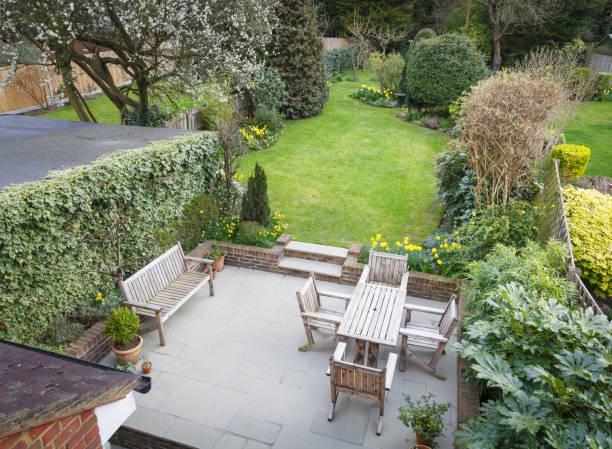 Suburban garden UK stock photo