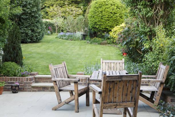 Suburban garden with patio stock photo