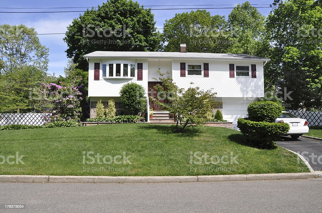 Suburban High Ranch Home in Residential Neighborhood stock photo