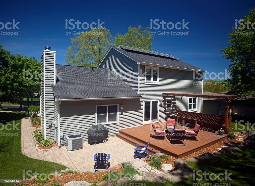 Suburban home backyard view.