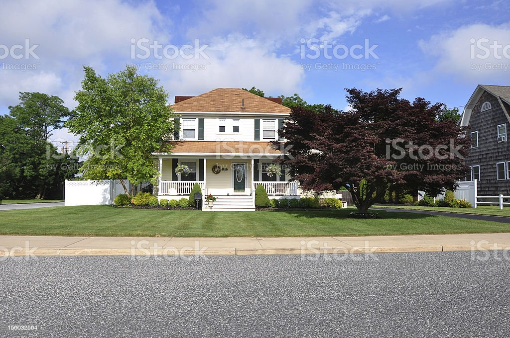 Suburban home front yard Japanese Maple Tree royalty-free stock photo