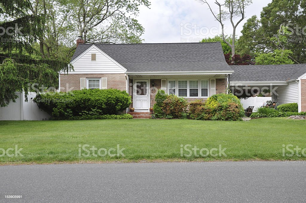 Suburban home front yard stock photo
