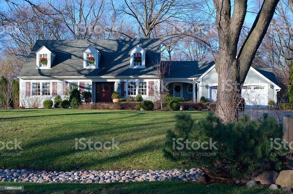 Suburban Home in Burr Ridge Illinois from Curb stock photo