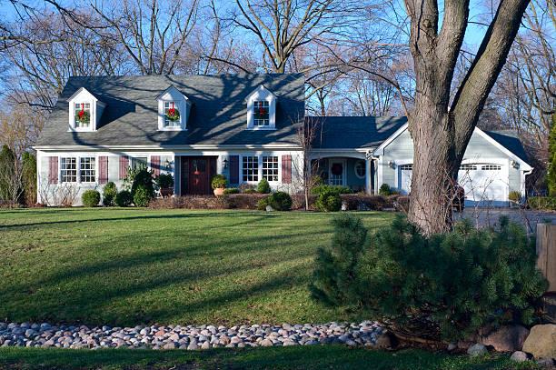 Suburban Home in Burr Ridge Illinois from Curb stock photo