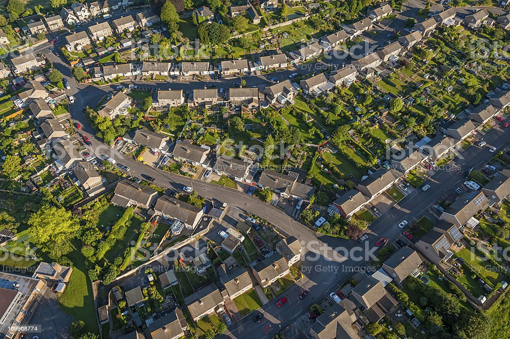 Suburban homes and gardens aerial photo stock photo