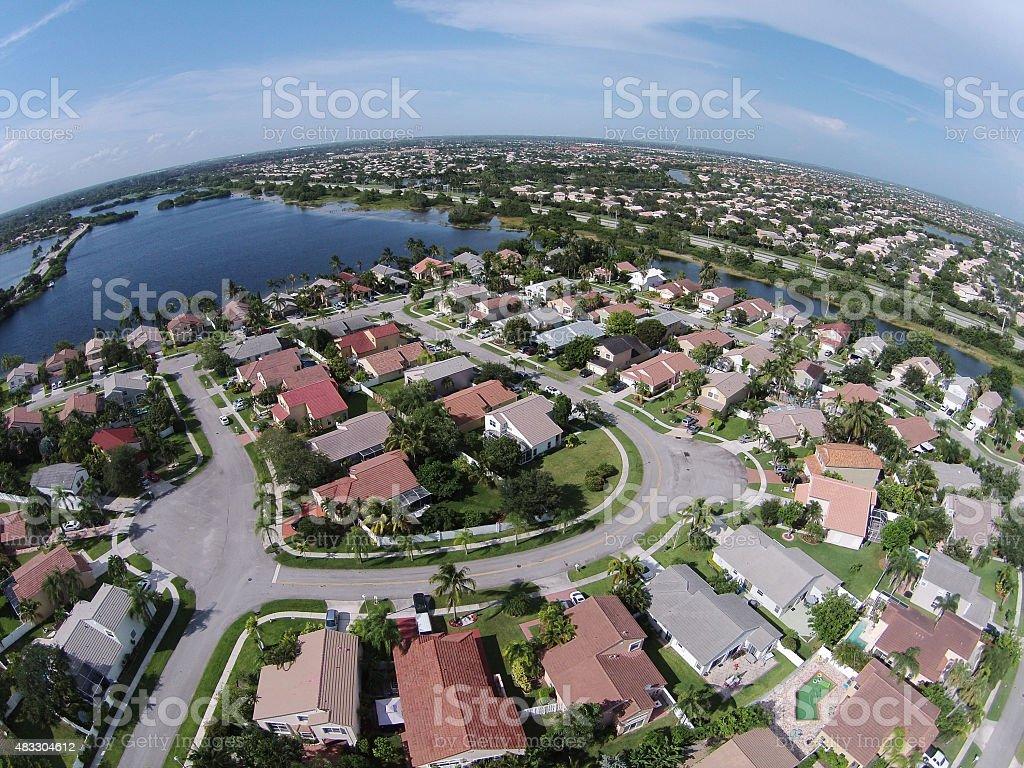 Suburban homes in Florida aerial stock photo