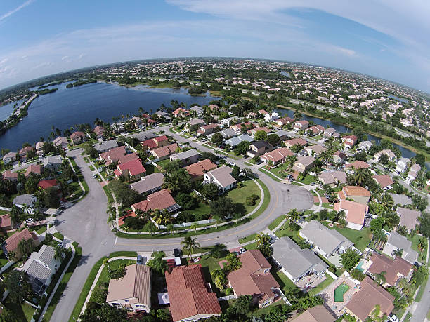 suburban homes in florida aerial - south stock photos and pictures