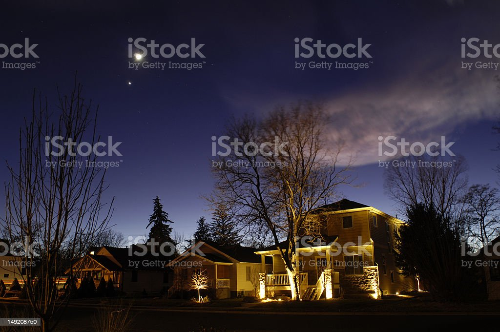 Suburban homes in twilight stock photo