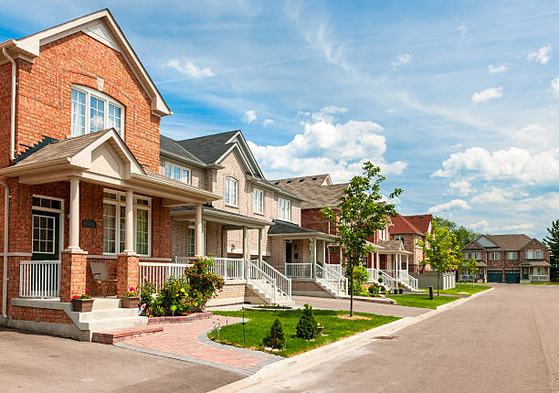Suburban homes stock photo