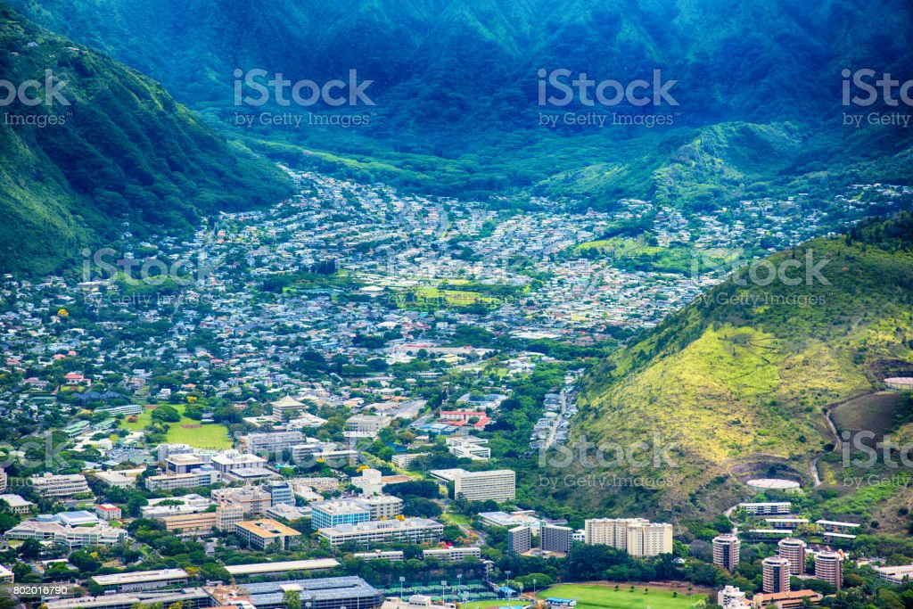 Suburban Honolulu Aerial View stock photo