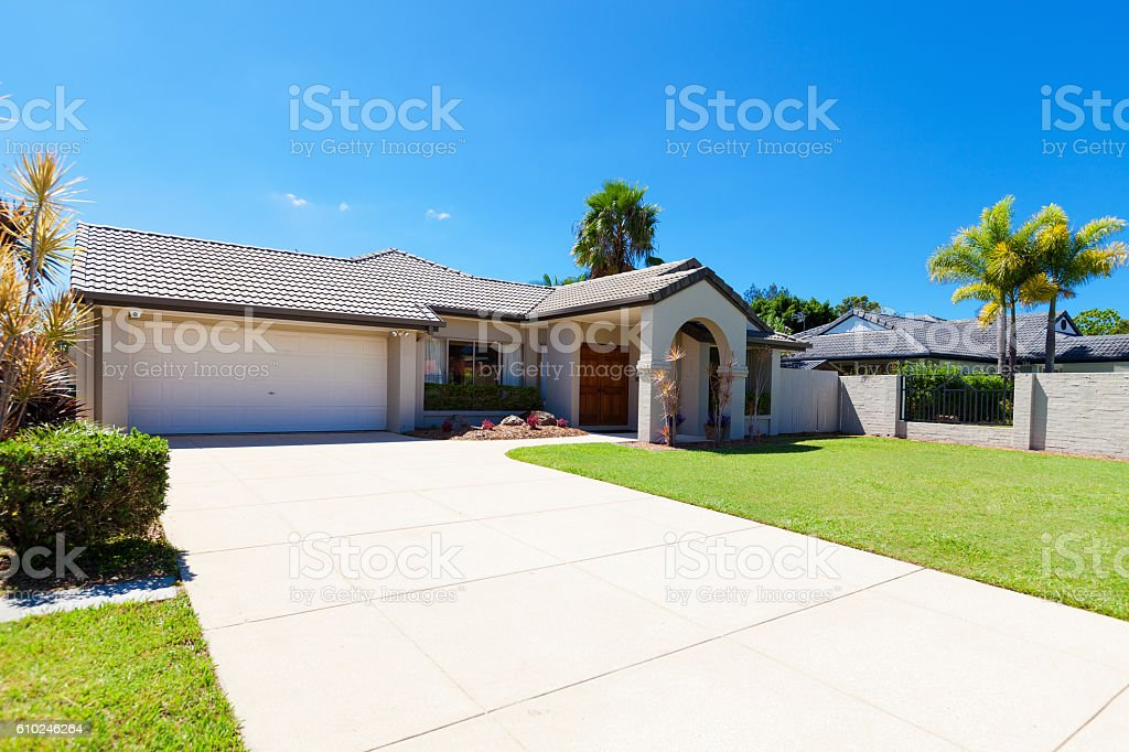 Suburban house front stock photo
